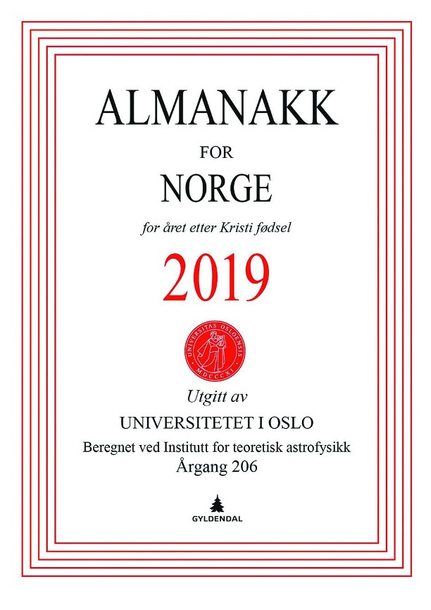 Almanakk for Norge 2019 - Universitetet i Oslo