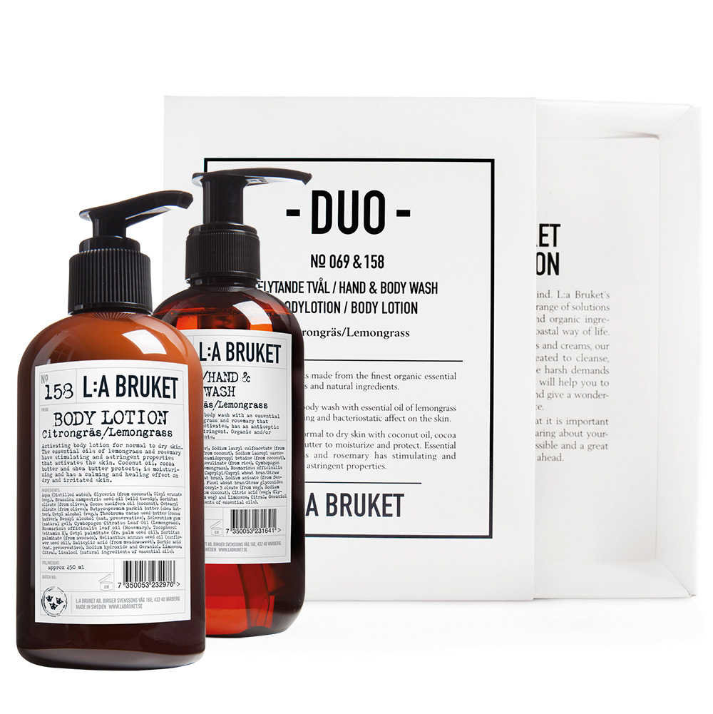 Duo-kit Flytende Såpe/Bodylotion Sitrongress 200 ml - L:A Bruket