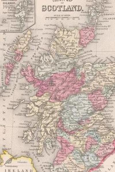 1863 Map of Scotland and Ireland - A Poetose Notebook / Journal / Diary (50 pages/25 sheets) - Poetose Press