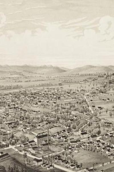 1886 Bird's Eye View Map of Amherst, Massachusetts - A Poetose Notebook / Journal / Diary (50 pages/25 sheets) - Poetose Press