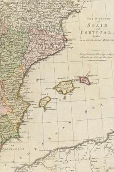1772 map of the kingdoms of Spain and Portugal, divided into their great provinces - A Poetose Notebook / Journal / Diary (50 pages/25 sheets) - Poetose Press