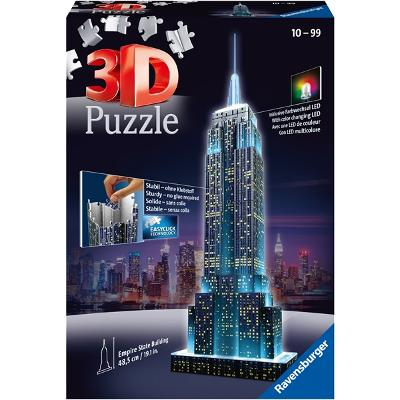 Puslespillbyggning 3D - Empire State Building LED - Ravensburger