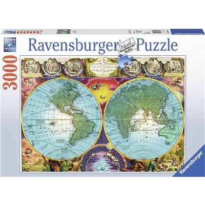 Puslespill 3000 Deler Antique Map - Ravensburger