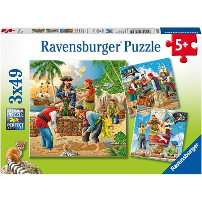 Puslespill 3 x 49 deler Adventure on the High Seas - Ravensburger