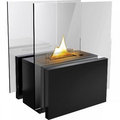 Peis Freestanding med glass sort - Tenderflame