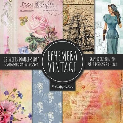 Ephemera Vintage Scrapbook Paper Pad 8x8 Scrapbooking Kit for Papercrafts, Cardmaking, DIY Crafts, Old Retro Theme, Decoupage Designs - Crafty as Ever