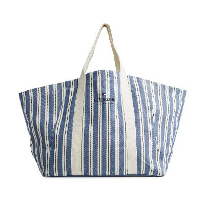 Beachway strandbag blå multi stripe - Lexington