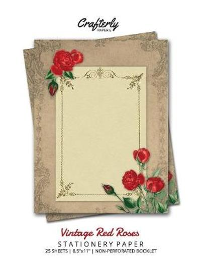 Vintage Red Roses Stationery Paper - Crafterly Paperie