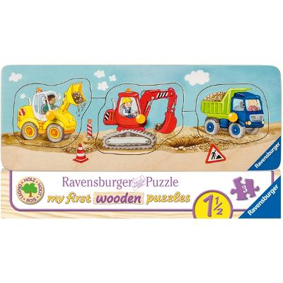 Puslespill 3 Deler Construction Site Vehicles - Ravensburger