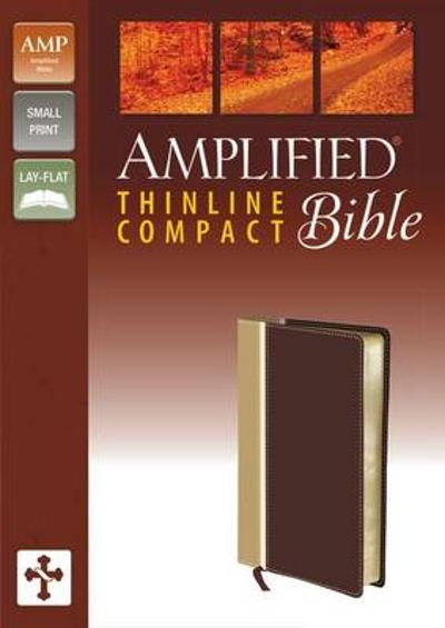 Amplified Thinline Bible, Compact, Imitation Leather, Tan/Burgundy - Zondervan Publishing
